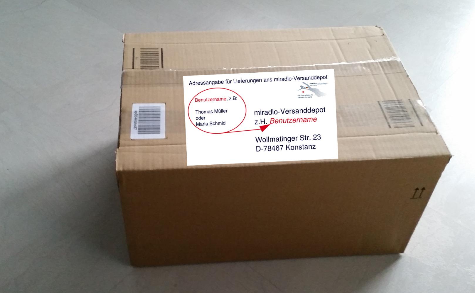 Paket mit Adressangaben - miradlo versanddepot - die Lieferadresse in Konstanz
