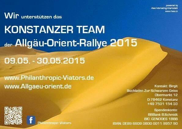 Unterstützerplakat der Philanthropic Viators aus Konstanz - Allgäu-Orient-Rallye 2015