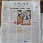 Leitartikel im Teil Konstanz des Südkurier vom 26.3.2015 über Lieferadressen mit Foto und Interview des miradlo Versanddepot