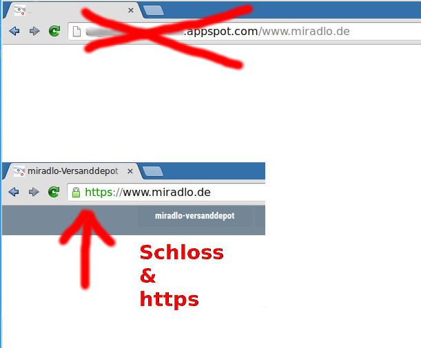 Schloss und https, meist grün angezeigt, verhindern phishing - gespiegelte Seiten