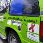 Auto mit miradlo vor miradlo - Team RallyeViators aus Konstanz bei der Allgäu-Orient-Rallye 2015 nach Amman, Jordanien