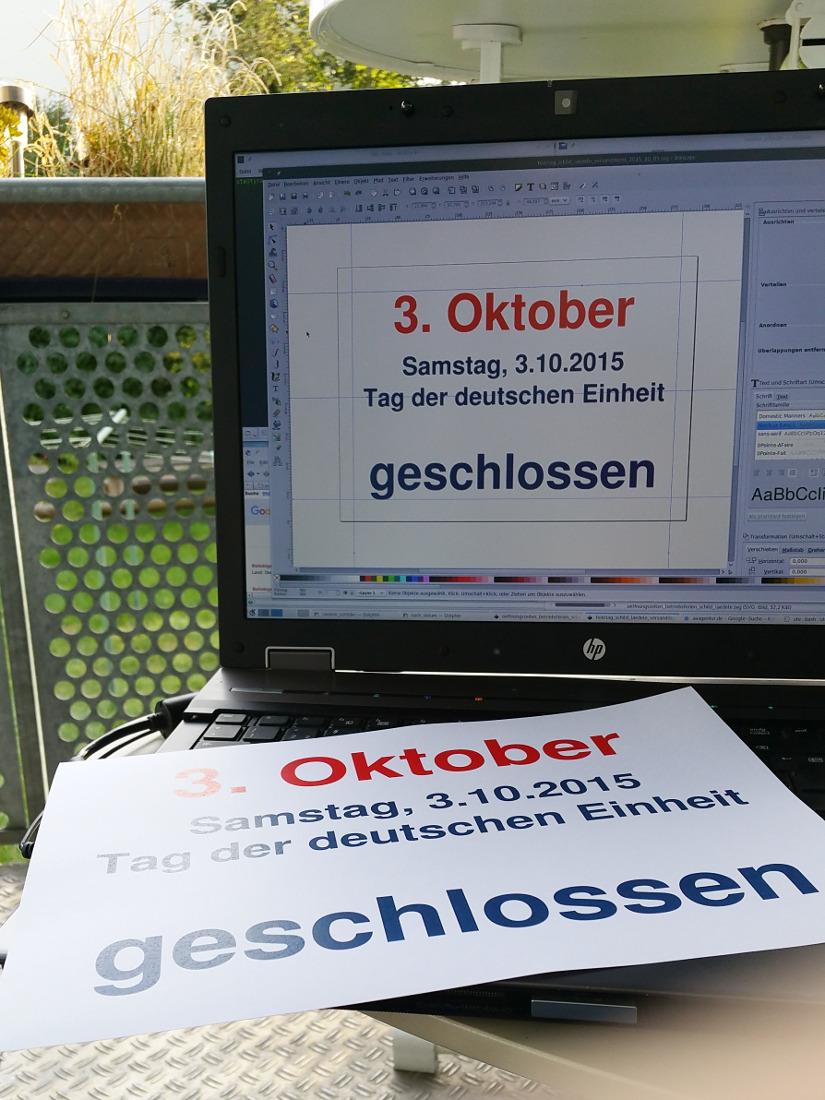Feiertag in Deutschland, am 3. Oktober, deshalb hat auch unsere Lieferadresse Konstanz geschlossen