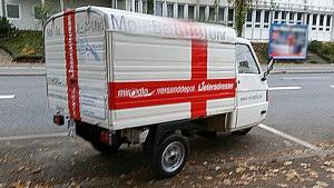 Apelina weggetragen, behindernd und gefährdend auf den Radweg, ohne Schaden - Wollmatinger Straße, Konstanz, miradlo-Versanddepot Lieferadresse