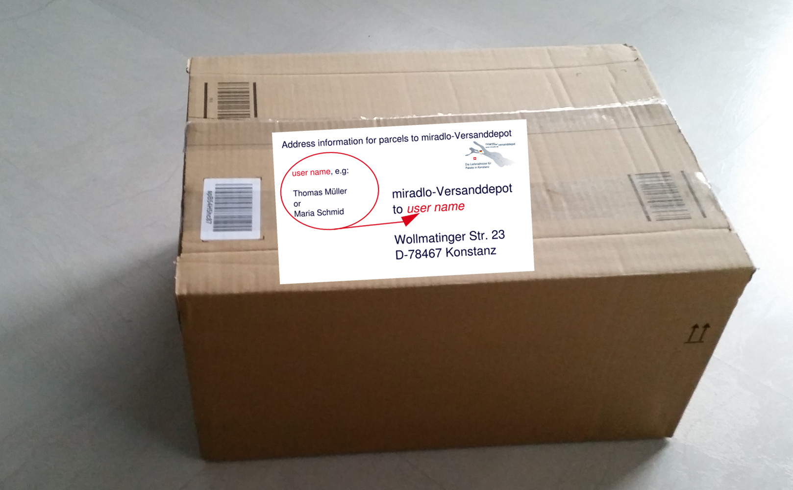 parcel address info for shipping to German delivery address miradlo-Versanddepot, Konstanz