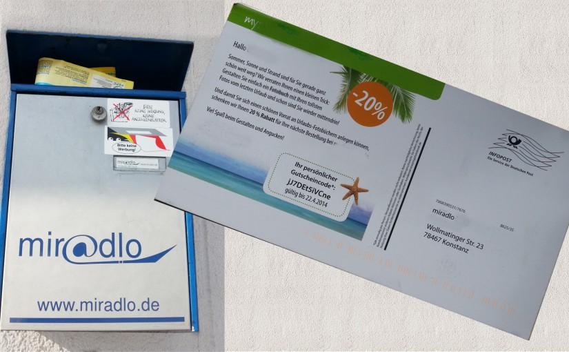 Werbebriefe an Kunden nur auf Verlangen – miradlo Versanddepot
