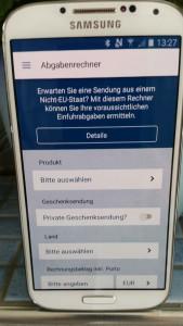 Oberfläche der App des deutschen Zolls um Gebühren zu kalkulieren, schnell, einfach, informativ, miradlo Versanddepot, Lieferadresse Konstanz