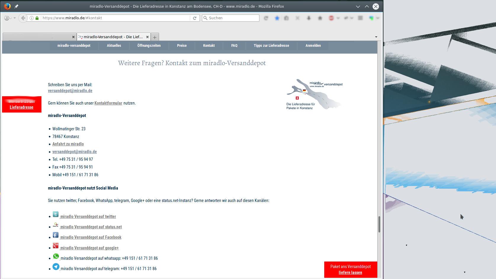 Kontaktmöglichkeiten, Kommunikationswege miradlo Versanddepot, Lieferadresse Konstanz