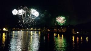 Seenachtsfest Konstanz vom Rhein aus mit Blick auf die alte Rheinbrücke, 2015