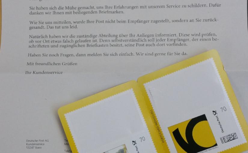 Post schickt frankierten, korrekt adressierten Brief zurück