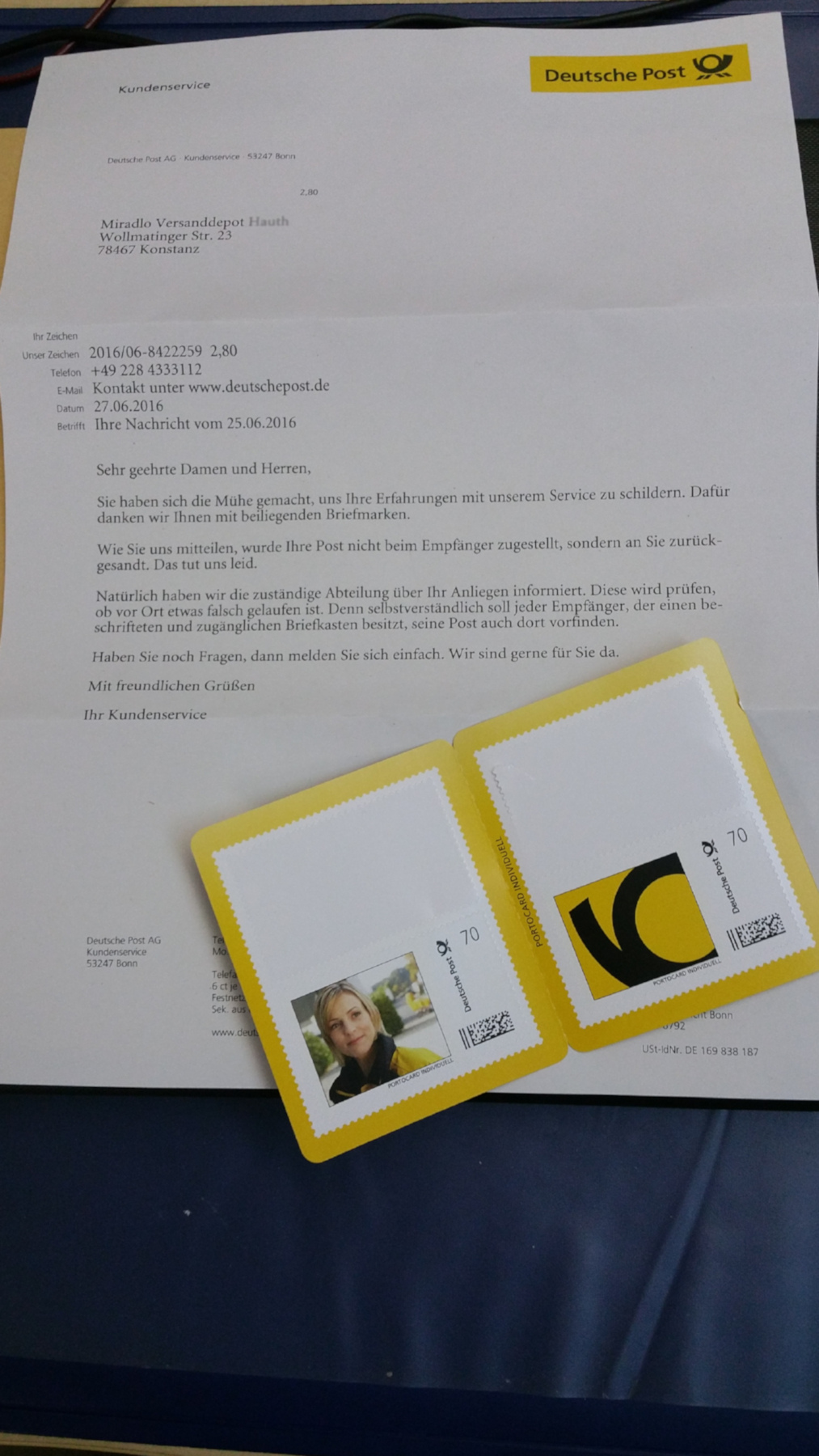Post Schickt Frankierten Korrekt Adressierten Brief Zurück