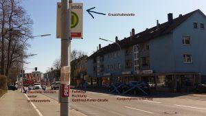 Baustelle und Beeinträchtigungen vorm miradlo Versanddepot Konstanz im Bild erklärt