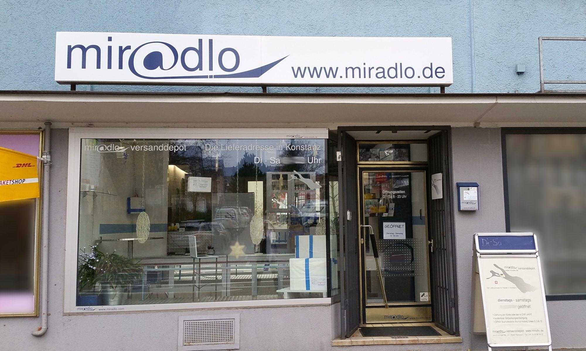 miradlo-Versanddepot, die Lieferadresse mit DHL-Paketshop in Konstanz