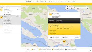 DHL-Paketshop-Standortsuche mit recht wenigen Infos zum Angebot eines Paketshops - miradlo-Versanddepot Konstanz
