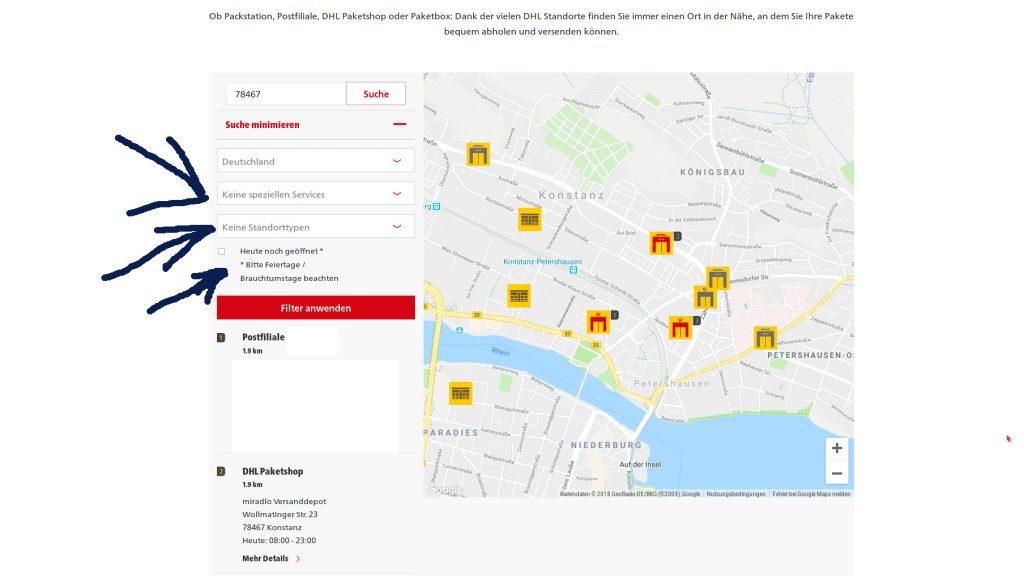 DHL-Standortsuche nach Service, Öffnungszeiten und ähnlichem - Beispiel mit miradlo-Versanddepot Konstanz