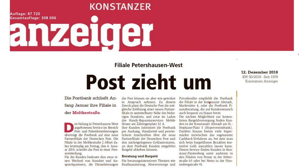 Konstanzer Anzeiger berichtet über Schließung der Post in der Moltkestraße am 4.1.2019 --- Paketshop im miradlo-Versanddepot bleibt geöffnet