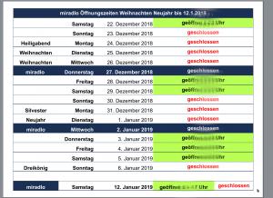 Öffnungszeiten, Feiertage, Betriebsschließung von Weihnachten 2018 bis zum 12.1.2019 - miradlo Versanddepot Konstanz