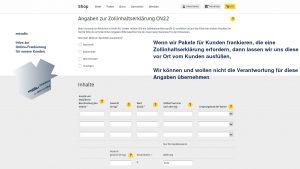 Online-Frankierung DHL, bei Paketen außerhalb der EU ist ein Zollformular zwingend auszufüllen, sonst kann keine Versandmarke erstellt werden - miradlo-Versanddepot Konstanz