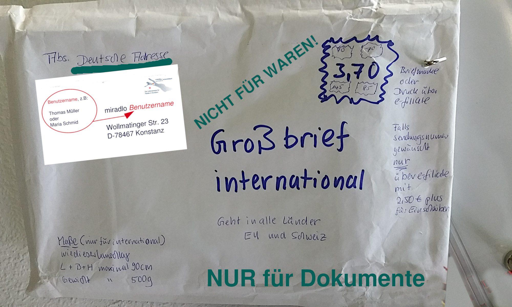 Waren nur noch als Paket - Großbrief international ist nur noch für Dokumente zulässig - miradlo-Versanddepot