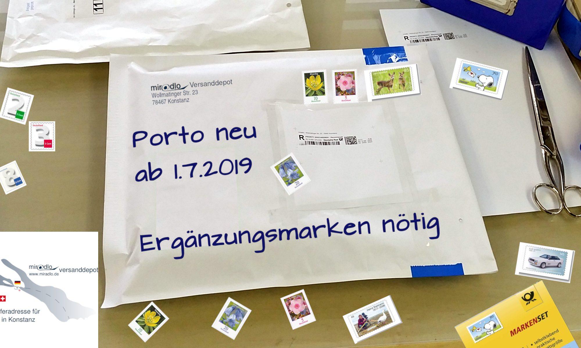 Ergänzungsmarke, Brief, Standardbrief, Porto, Postkarten, Briefmarken, Internetmarke, Portoerhöhung ---- miradlo-Versanddepot, Lieferadresse Konstanz mit DHL-Shop
