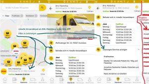 DHL-APP und Paketshop, ganz rechts mögliche Leistungen, je nach Shop, die Hauptansicht zeigt, was bei miradlo angegeben wird, es ist KEINE Paketabholung aufgeführt, Infos zur DHL-App vom miradlo Versanddepot