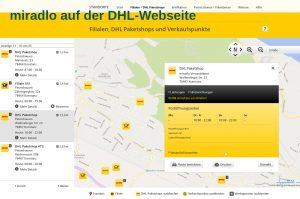 DHL-Webseite beim miradlo Paketshop sind die möglichen Leistungen zunächst nur versteckt angezeigt- miradlo Versanddepot