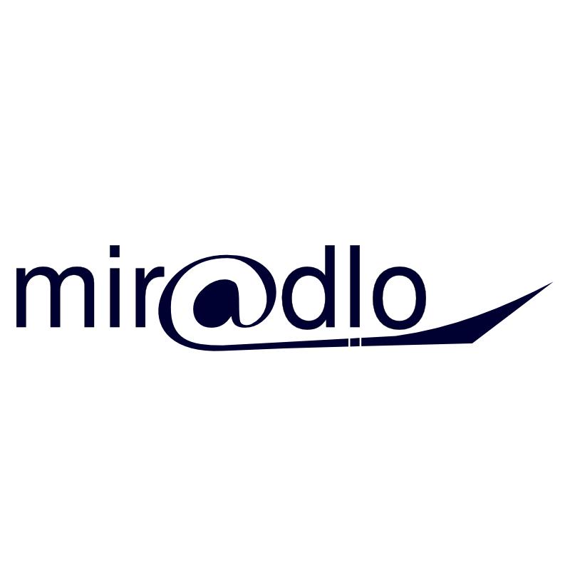 miradlo Logo mit @ dunkelblau auf weiß