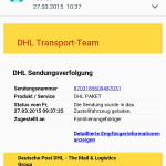 Screenshot Spam-Schadsoftware-E-Mail auf dem Mobile