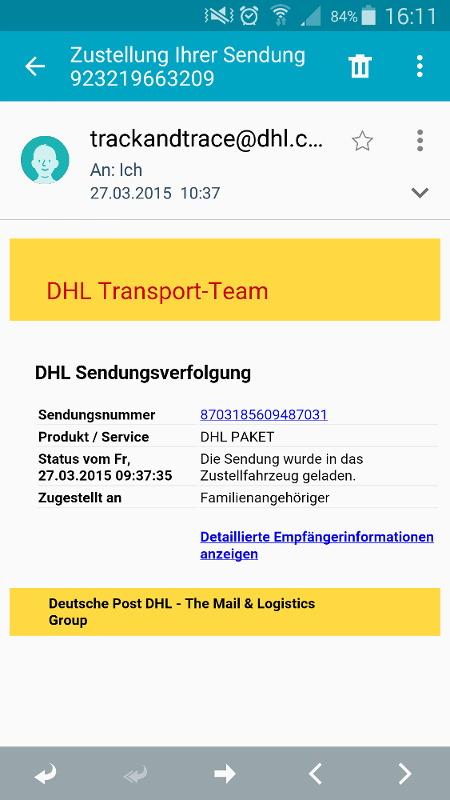 Screenshot Spam-Schadsoftware-E-Mail auf dem Mobile