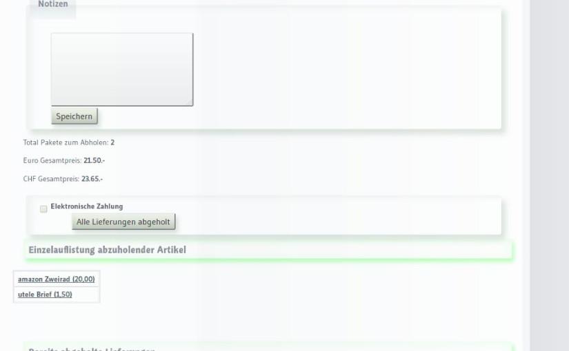 Sendungen abholen - Adminbereich mit Informationen zu allen lagernden Sendungen eines Kunden Lieferadressensoftware miradlo-Versanddepot