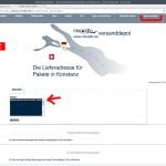 """miradlo.de-""""Seite Meine Sendungen"""" hier gibt es den """"Notizzettel"""" Neukunden geben hier Namen und Ort des Bestandskunden ein - miradlo-Versanddepot Kunden werben Kunden - Lieferadresse Konstanz"""