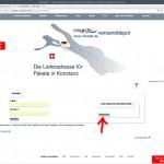 """miradlo.de-Seite """"Anmelden"""" Neukunden wählen """"Registrieren"""" - miradlo-Versanddepot Kunden werben Kunden - Lieferadresse Konstanz"""