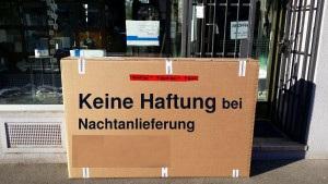 Keine Haftung für Nachtanlieferungen außerhalb unserer Öffnungszeiten - miradlo Versanddepot, die Lieferadresse Konstanz