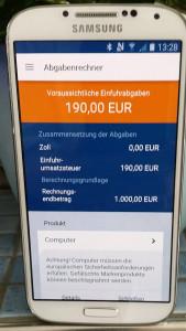 Beispiel einer Berechnung in der App des deutschen Zolls um Gebühren zu kalkulieren, schnell, einfach, informativ, miradlo Versanddepot, Lieferadresse Konstanz