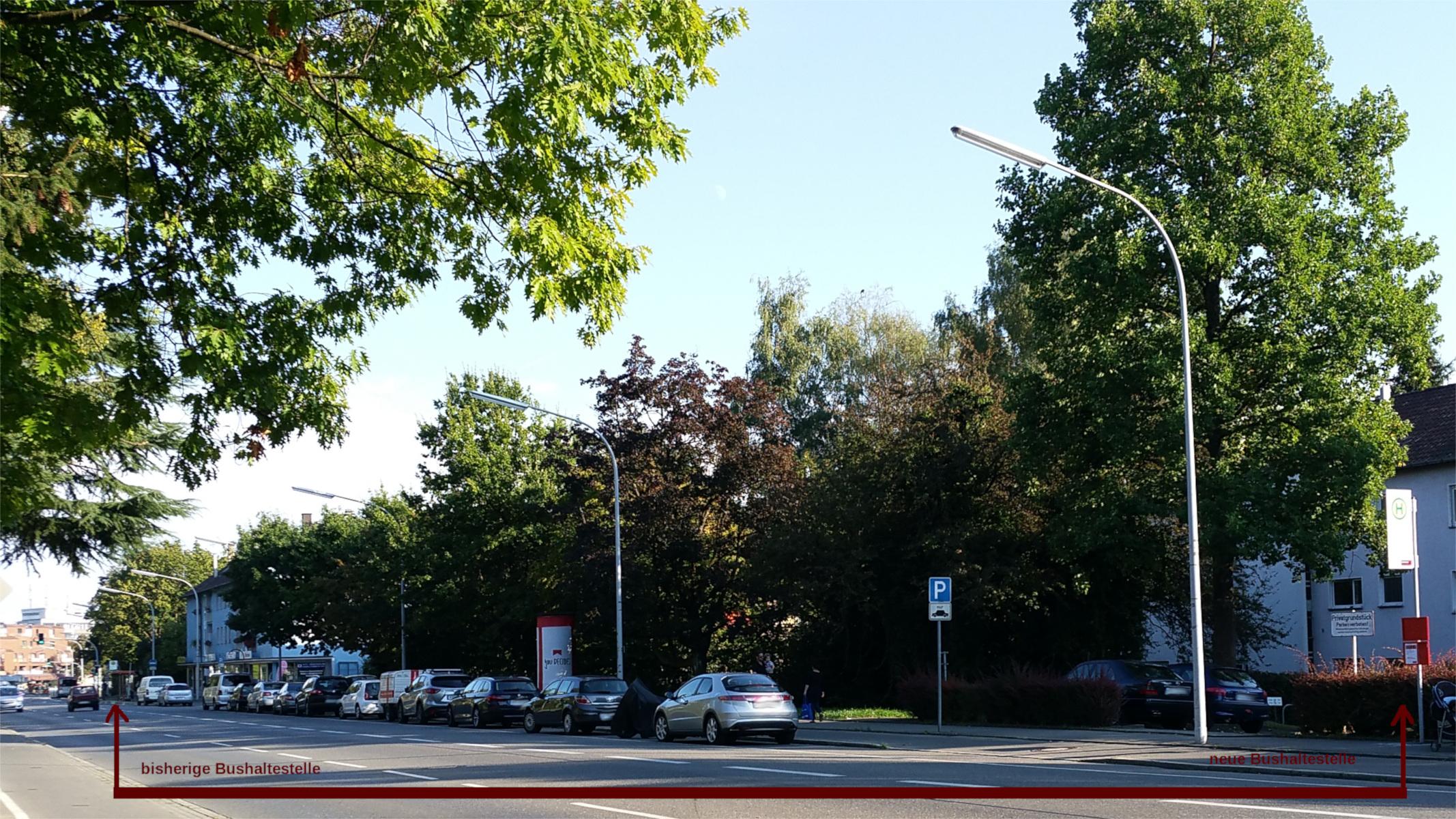 Bushaltestellen verlegen in Konstanz um wohl Wegstrecken zu verkürzen, alte und neue Bushaltestelle markiert.