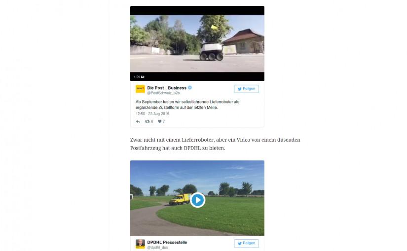 Screenshot Lieferroboter, CH-Post und Video DPDHL - miradlo Versanddepot, die Lieferadresse