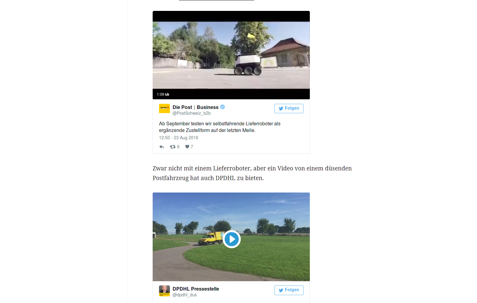Screenshot Lieferroboter, CH-Post und Video DPDHL - miradlo Versanddepot, die Lieferadresse