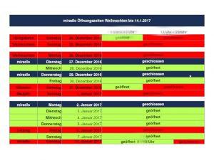miradlo Versanddepot Öffnungszeiten von Weihnachten bis Dreikönig im Januar 2017