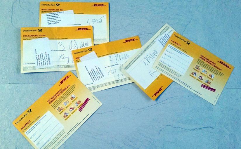 Paketbenachrichtigungskarte, Abholkarten, Vollmacht auf der Rückseite - miradlo-Versanddepot und Paketshop