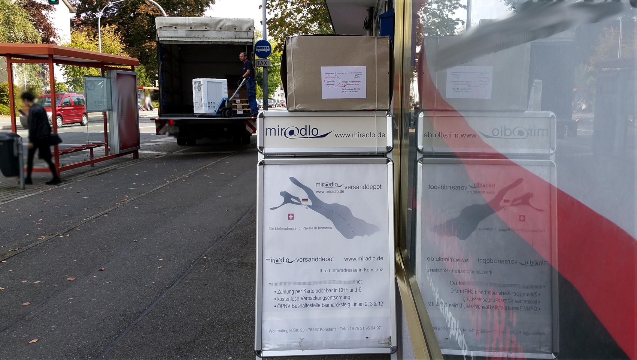 Speditionsanlieferung - miradlo Versanddepot - die Lieferadresse in Konstanz