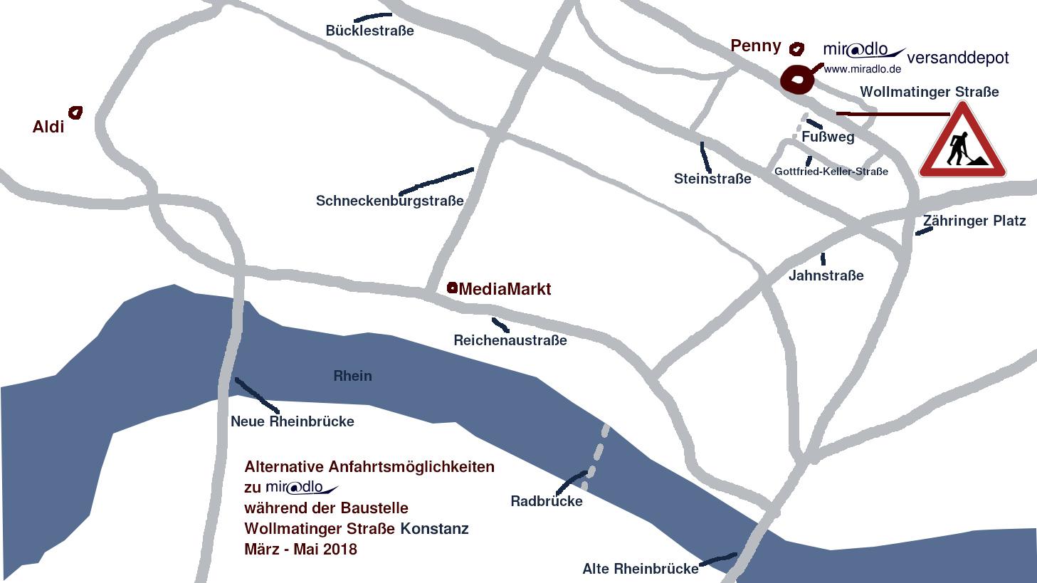 Alternative Anfahrtswege zu miradlo in Konstanz während der Baustelle Wollmatinger Straße von März bis Mai 2018