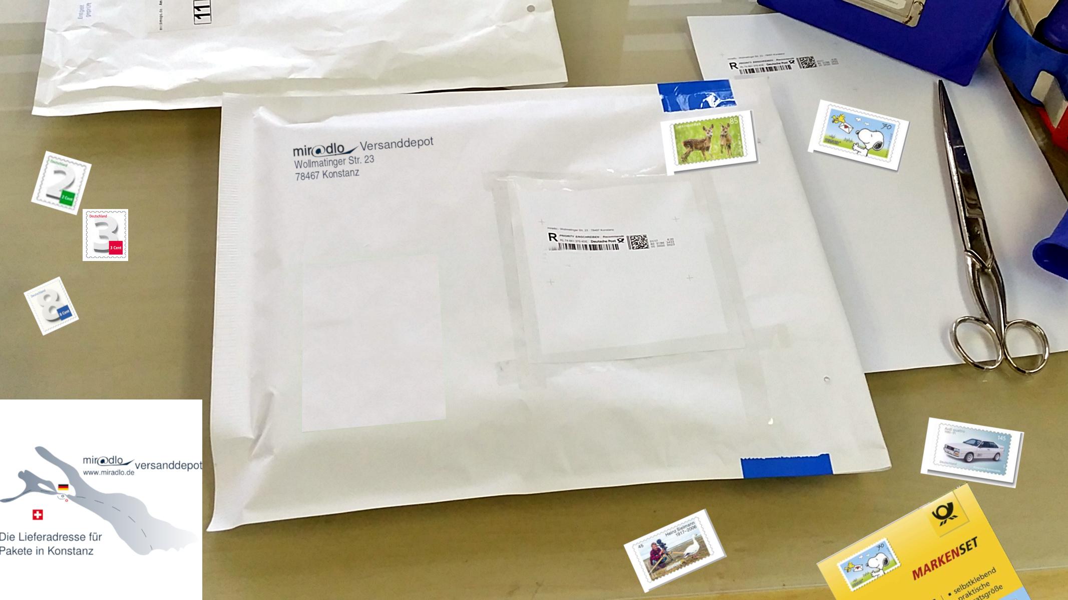 Brief, Standardbrief, Porto, Briefmarken, Portoerhöhung ---- miradlo-Versanddepot, Lieferadresse Konstanz