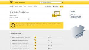 Online-Frankierung von DHL, Beispiel-Schritte, anmelden, Paket und Land auswählen - miradlo-Versanddepot Konstanz