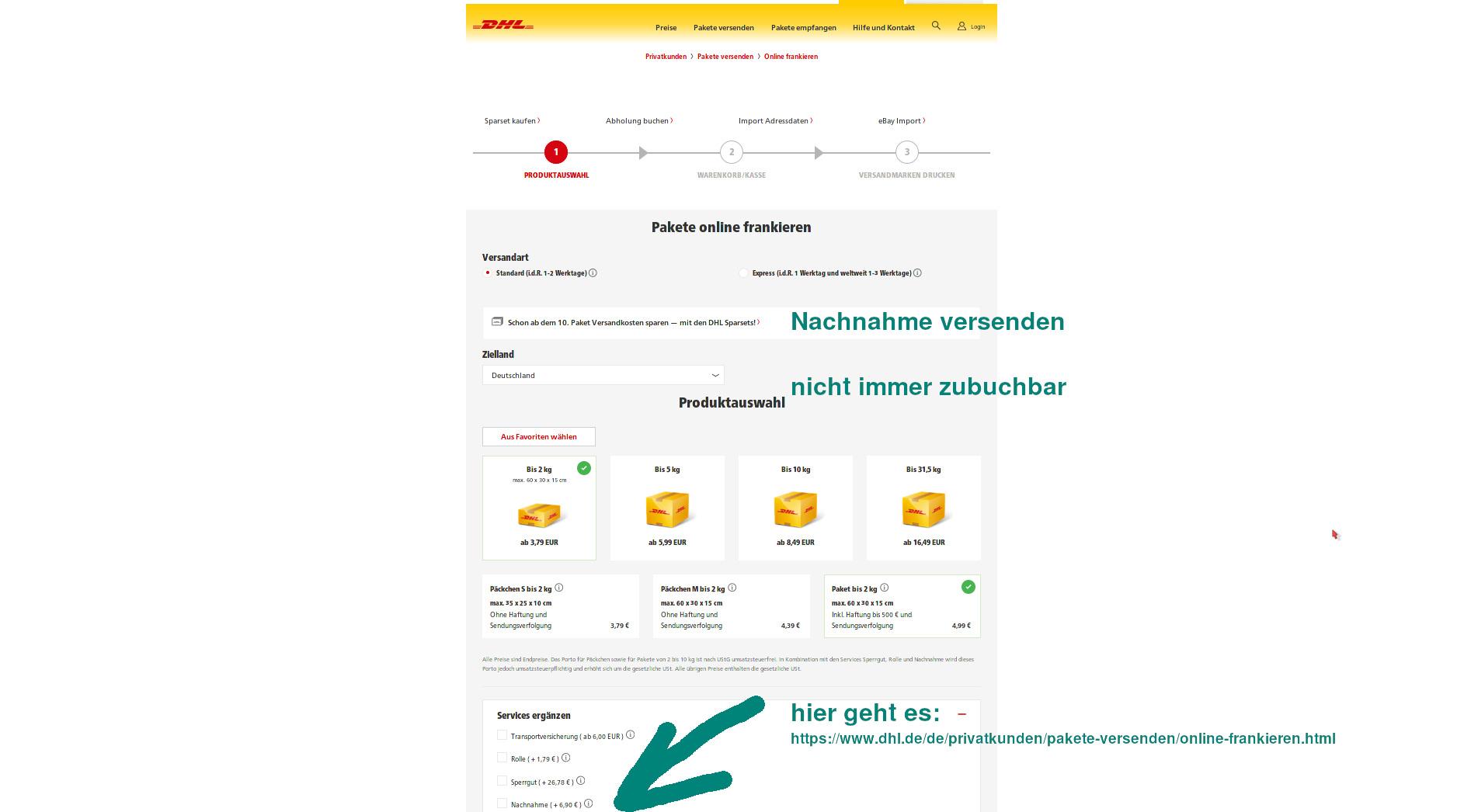 DHL-online-Frankierung über diese Seite gibt es auch den Service Nachnahme - miradlo-Versanddepot, Päcklebox als Lieferadresse