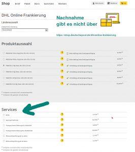DHL-online-Frankierung über diese Seite gibt es den Service Nachnahme NICHT - miradlo-Versanddepot, Päcklebox als Lieferadresse