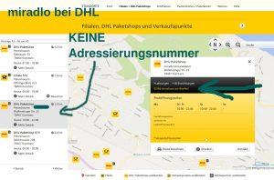 DHL-Webseite beim miradlo Paketshop fehlt eine Adressierungsnummer, weil wir keine kostenlose Paketabholung anbieten - miradlo Versanddepot