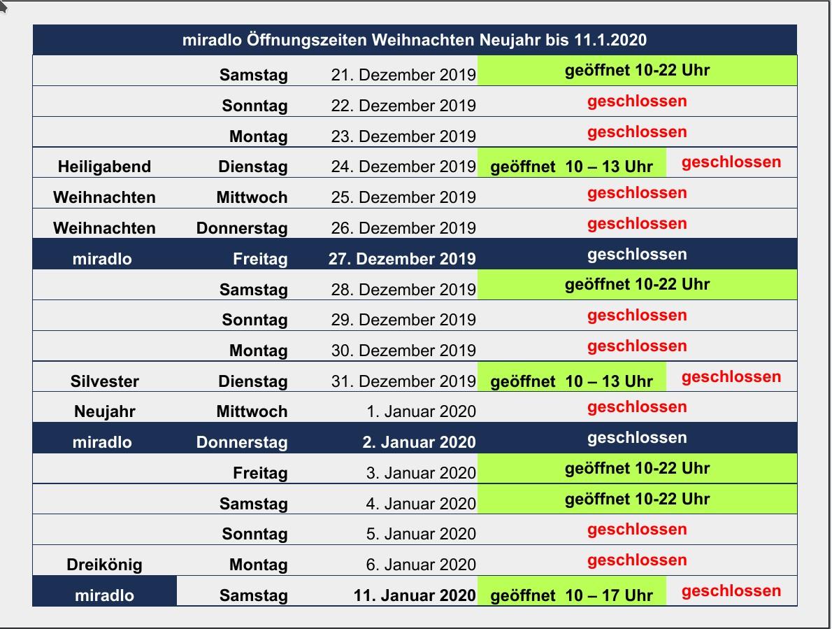 Öffnungszeiten, Feiertage, Betriebsschließung von Weihnachten 2019 bis zum 11.1.2020 - miradlo Versanddepot Konstanz